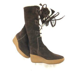 Michael Kors Beaverton Shearling Lace Up Boots 10